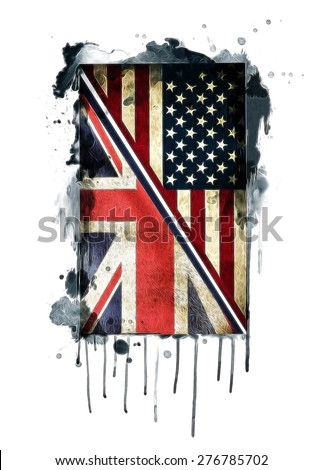 american flag/British flag/American and British flags/vintage flag illustration/T-shirt Graphics/cultural unification/vintage British and American flags illustration/canvas print/tattoo design - stock photo
