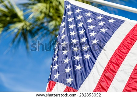 American flag closeup with palm tree in background - stock photo
