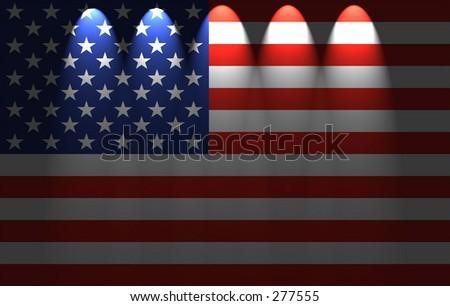 american flag (five spots down lighting) - stock photo