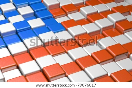 American Flag Formed by Cubes - stock photo