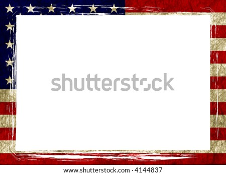 american flag frame - stock photo