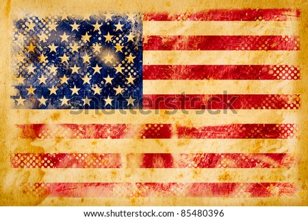 American flag grunge  on old vintage paper - stock photo
