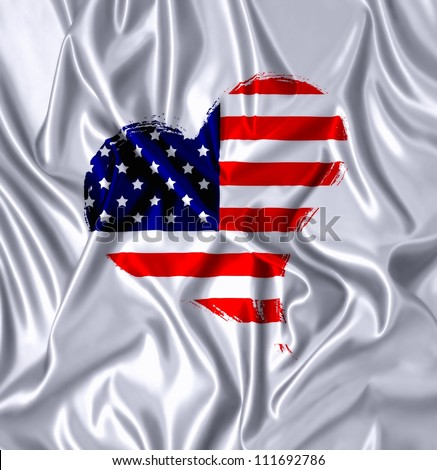 American flag in a folds silk cloth. - stock photo