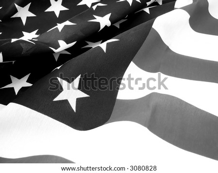 American Flag in Black and White - stock photo