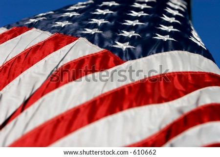 American Flag in breeze - stock photo