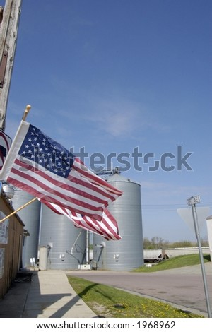 American Flag in Midwest Town - stock photo