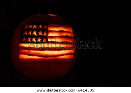 American Flag jack-o-lantern - stock photo