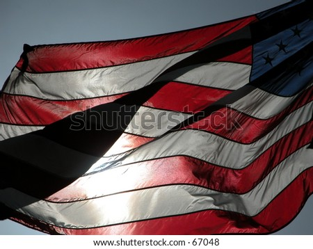 American flag moved by the wind - stock photo