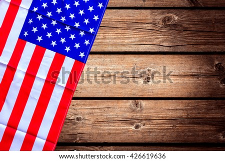 American flag on a old wooden - stock photo