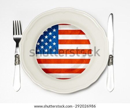 American flag on a plate - stock photo
