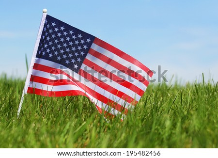 American Flag on Green Grass  - stock photo