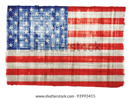 American flag on original papyrus background - stock photo