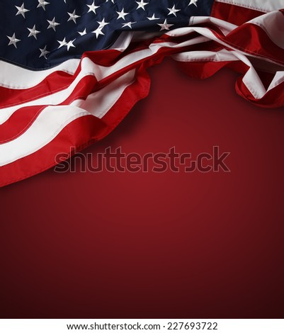 American flag on red background - stock photo