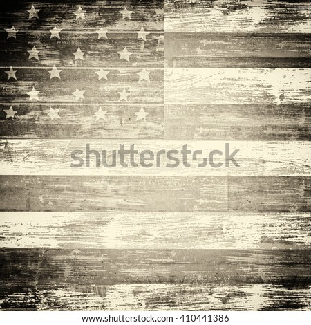 American flag on wooden board - stock photo