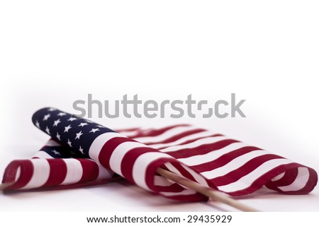 American flag on wooden stick on white background