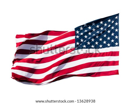 american flag over white background