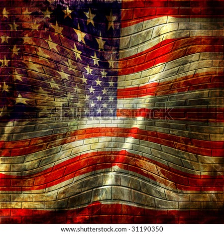 american flag painted on a brick wall - stock photo