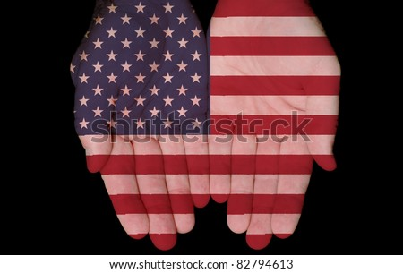 American Flag Painted On Hands / America In Our Hands