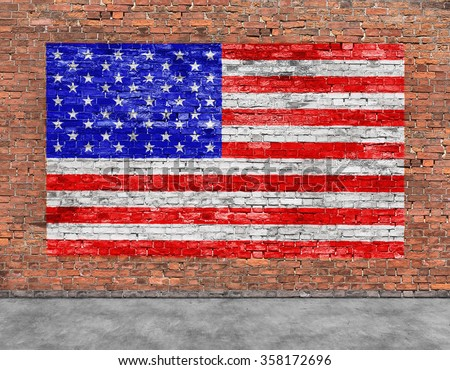 American flag painted over old brick wall - stock photo