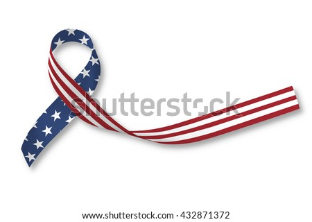 American flag pattern awareness ribbon on human hands isolated on white background: United states of america public holiday - USA national day, nationalism raising US nation support campaign concept - stock photo