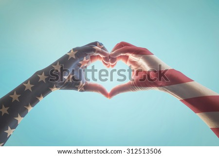 American flag pattern on people hands in heart shaped form against vintage sky background w/ clouds: Memorial day Happy columbus day Patriot day, USA Independence Labor Loyalty day symbolic concept  - stock photo