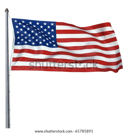 American Flag render (isolated on white and clipping path)