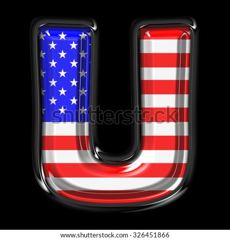 American flag style font.Crystal font