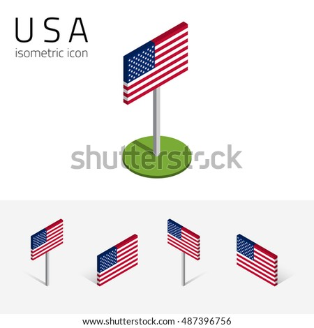 American Flag United States Of America Set Of Isometric Flat Icons 3d