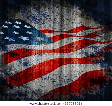 American flag vintage textured background. - stock photo