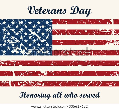 American flag vintage textured background. raster illustration Veterans day - stock photo