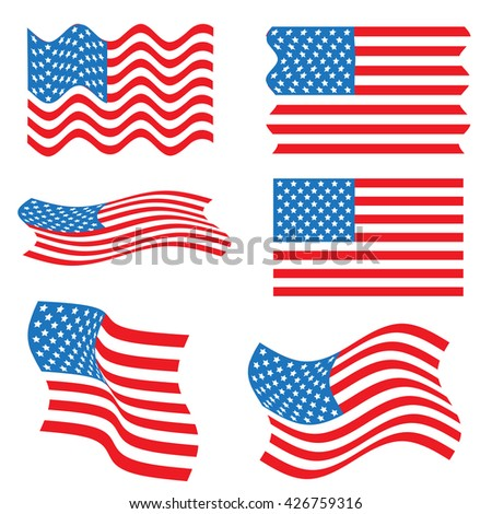 American flag wavy shape. Independence day background. Set of United States flag. American flag set. Wavy USA flag. Many shapes of American flag - stock photo