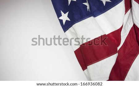 American Flag with white background for copy space - stock photo
