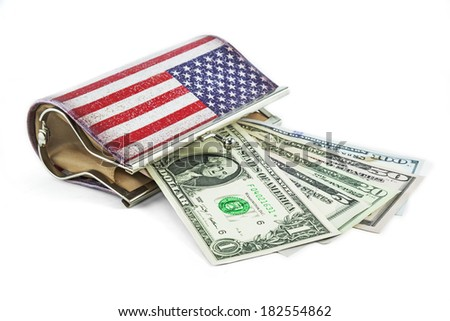 american flag woman wallet and US $ Dollar Money  - stock photo