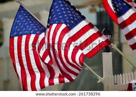 American flags fluttering in the Central Florida breeze. - stock photo