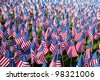 American flags on display for Memorial Day or July 4th - stock photo