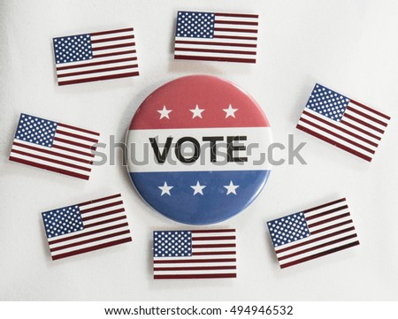 American flags surround a Vote button