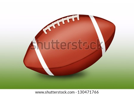 American football ball on gradient green-white background - illustration