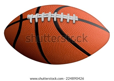 American football, basketball isolated over a white background with a clipping path