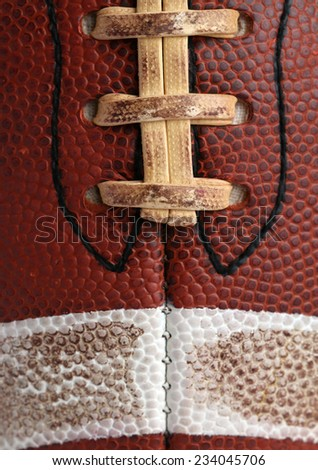American Football close up on the laces for sports background
