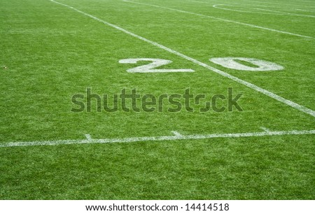 American football field grass - 20 yards mark - stock photo