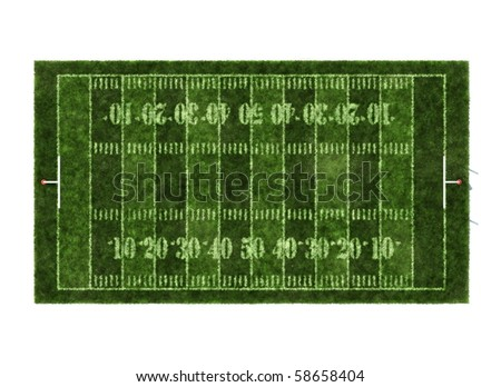 American football field isolated on white background - stock photo