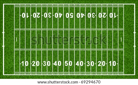 American Football Field, Isolated On White Background - stock photo
