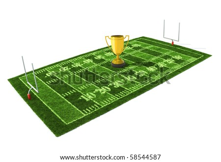 American football field isolated on white background with the golden trophy on the center