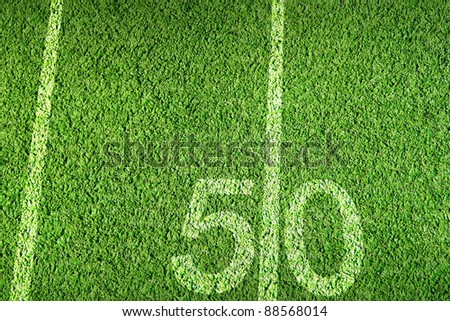 American football field on green grass - stock photo