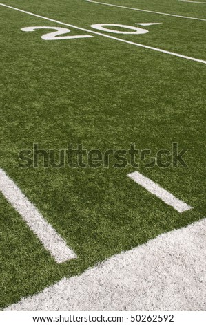 American Football field turf and white painted lines