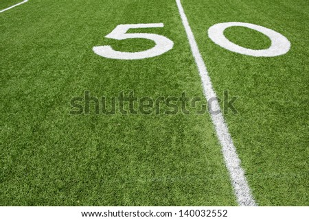 American Football Fifty Yard Line with room for copy - stock photo