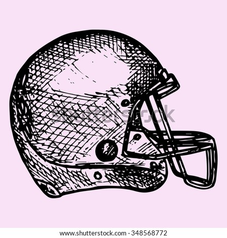 American football helmet, doodle style, sketch illustration, hand drawn, raster - stock photo