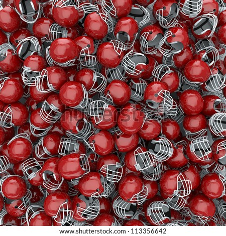 American football helmets background - stock photo