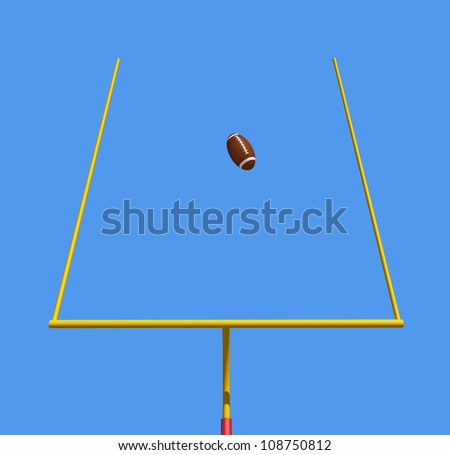 American football kicked through the goal posts against blue sky -rendering - stock photo