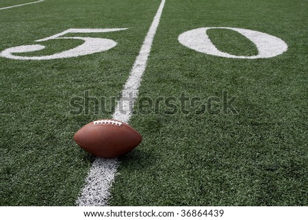 American Football near the Fifty Yard Line